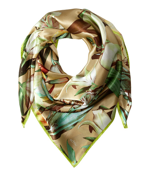 Echo Design - Tropical Flowers Square Scarf (Khaki) Scarves