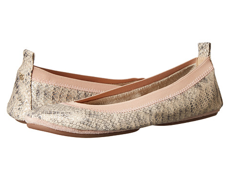 Yosi Samra - Samara Dusty Metallic Snake Flat (Powder Pink) Women's Flat Shoes