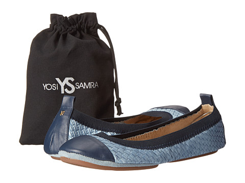 Yosi Samra - Samantha Burnished Woven Flat (Skylight Blue/Indigo) Women