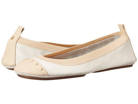 Yosi Samra - Samantha Tonal Stud Flat (White/Biscotti) Women's Flat Shoes