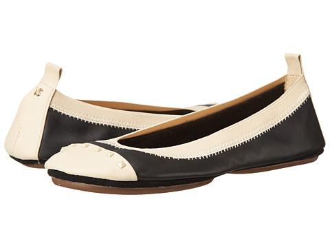 Yosi Samra - Samantha Tonal Stud Flat (Black/Biscotti) Women's Flat Shoes