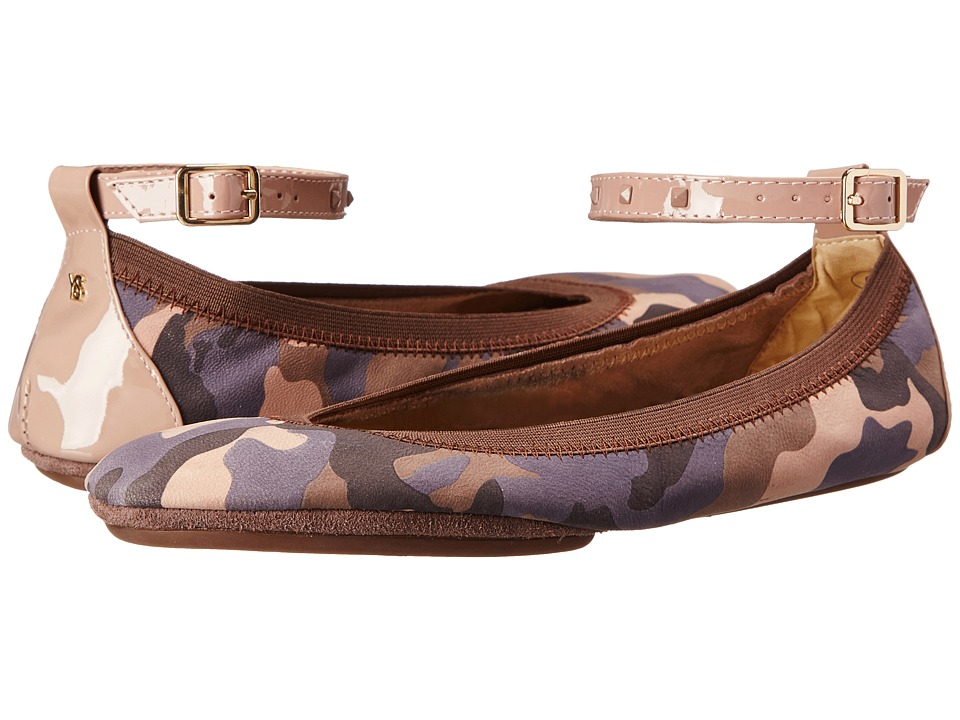 Yosi Samra - Abbey Washed Camo Leather Flat (Muted Rose) Women's Flat Shoes