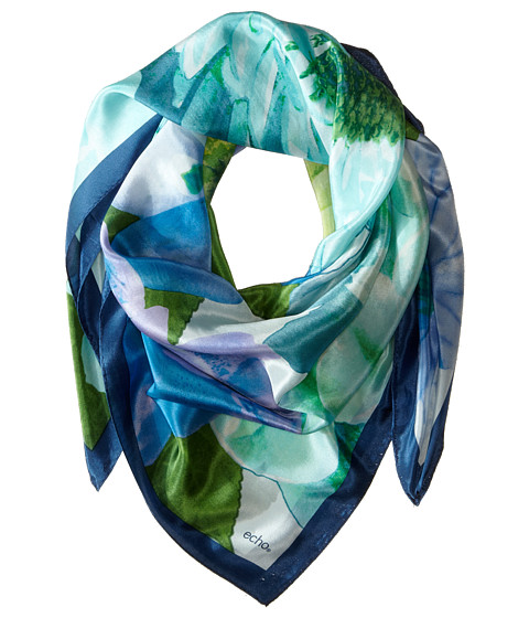 Echo Design - Spring Flowers Square Scarf (Turquoise) Scarves