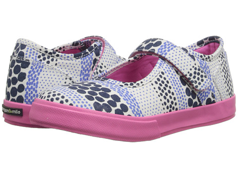 Morgan&Milo Kids - Maddie Dotted MJ Printed Canvas (Toddler/Little Kid) (Brave Navy) Girls Shoes