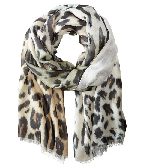 Echo Design - Soft Cheetah Color Block Wrap Scarf (Black) Scarves