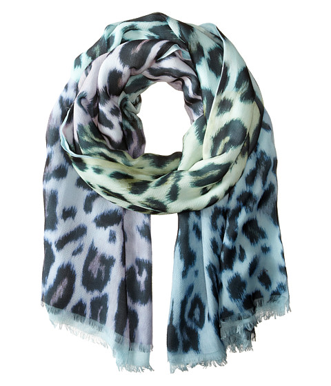 Echo Design - Soft Cheetah Color Block Wrap Scarf (Sky) Scarves
