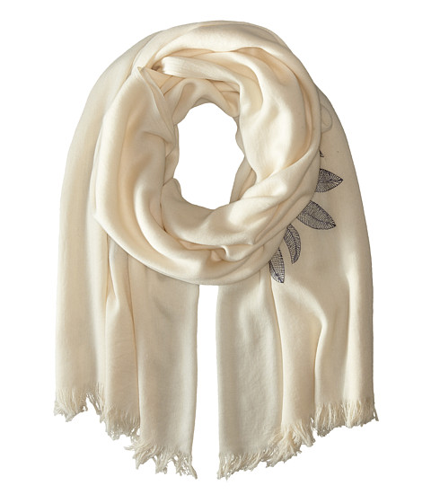 Echo Design - Sunflower Embroidery Wrap Scarf (White) Scarves