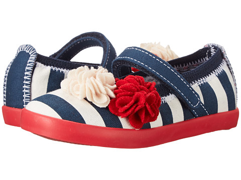 Morgan&Milo Kids - Olivia MJ Printed Canvas (Toddler/Little Kid) (Navy Stripe) Girls Shoes