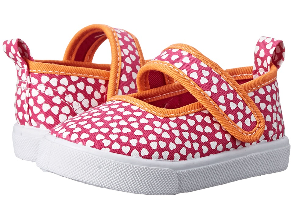 Morgan&Milo Kids - Gracie MJ Printed Canvas (Toddler/Little Kid) (Pink Hearts) Girls Shoes