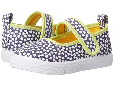 Morgan&Milo Kids - Gracie MJ Printed Canvas (Toddler/Little Kid) (Navy Heart) Girls Shoes