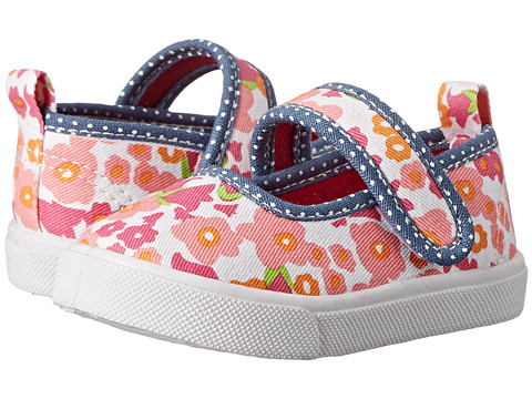 Morgan&Milo Kids - Gracie MJ Printed Canvas (Toddler/Little Kid) (Pink Floral) Girls Shoes