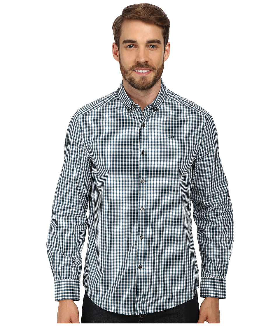 Kenneth Cole Sportswear - L/S Tattersol Check Button-Down Collar Shirt (Juniper Combo) Men