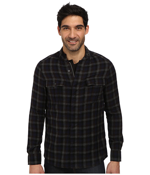 Kenneth Cole Sportswear - Flannel Shirt Jacket (Charcoal Heather Combo) Men's Long Sleeve Button Up