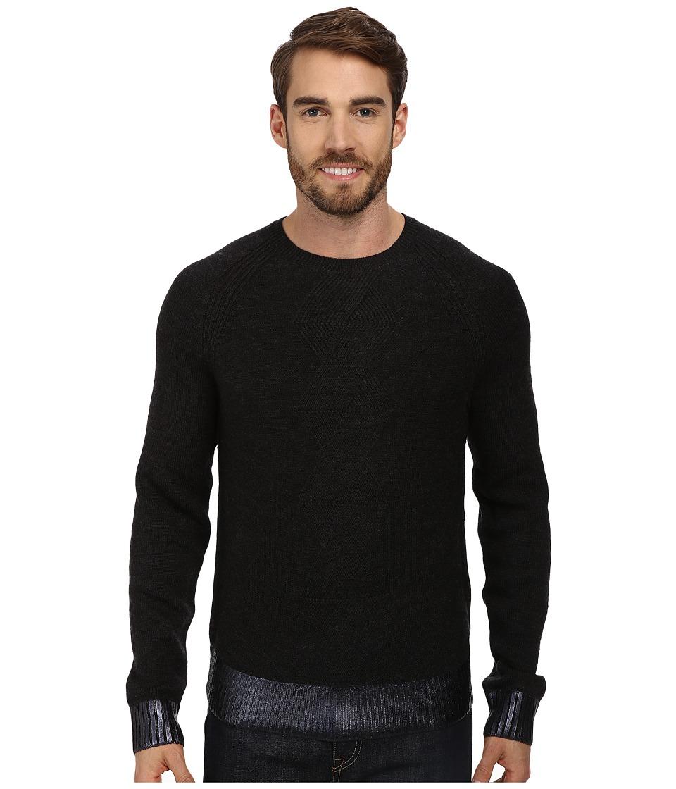 Kenneth Cole Sportswear - L/S Herringbone Crew Sweater (Charcoal Heather) Men