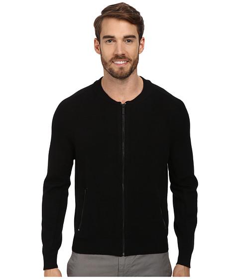 Kenneth Cole Sportswear - L/S Mock Raglan w/ Zip (Black) Men's Sweater
