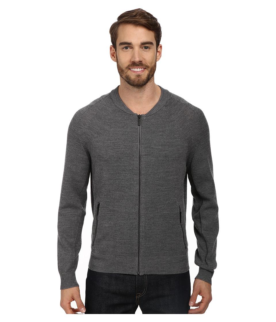Kenneth Cole Sportswear - L/S Mock Raglan w/ Zip (Flannel Heather) Men