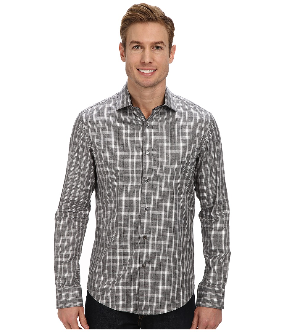 Kenneth Cole Sportswear - L/S Yarn Dye Melange Check Shirt (Heather Grey Combo) Men