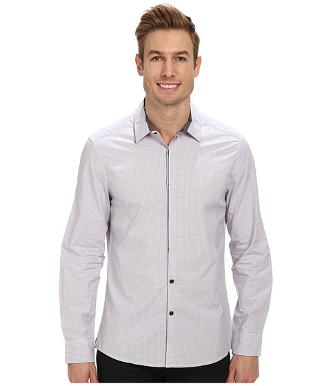Kenneth Cole Sportswear - L/S Half Covered Placket Check Slim Shirt (White Combo) Men's Clothing