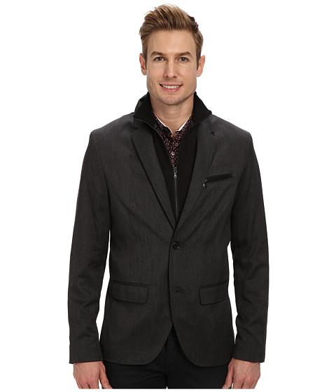 Kenneth Cole Sportswear - Two Button Slim Blazer w/ Removable Bib (Charcoal Combo) Men's Jacket