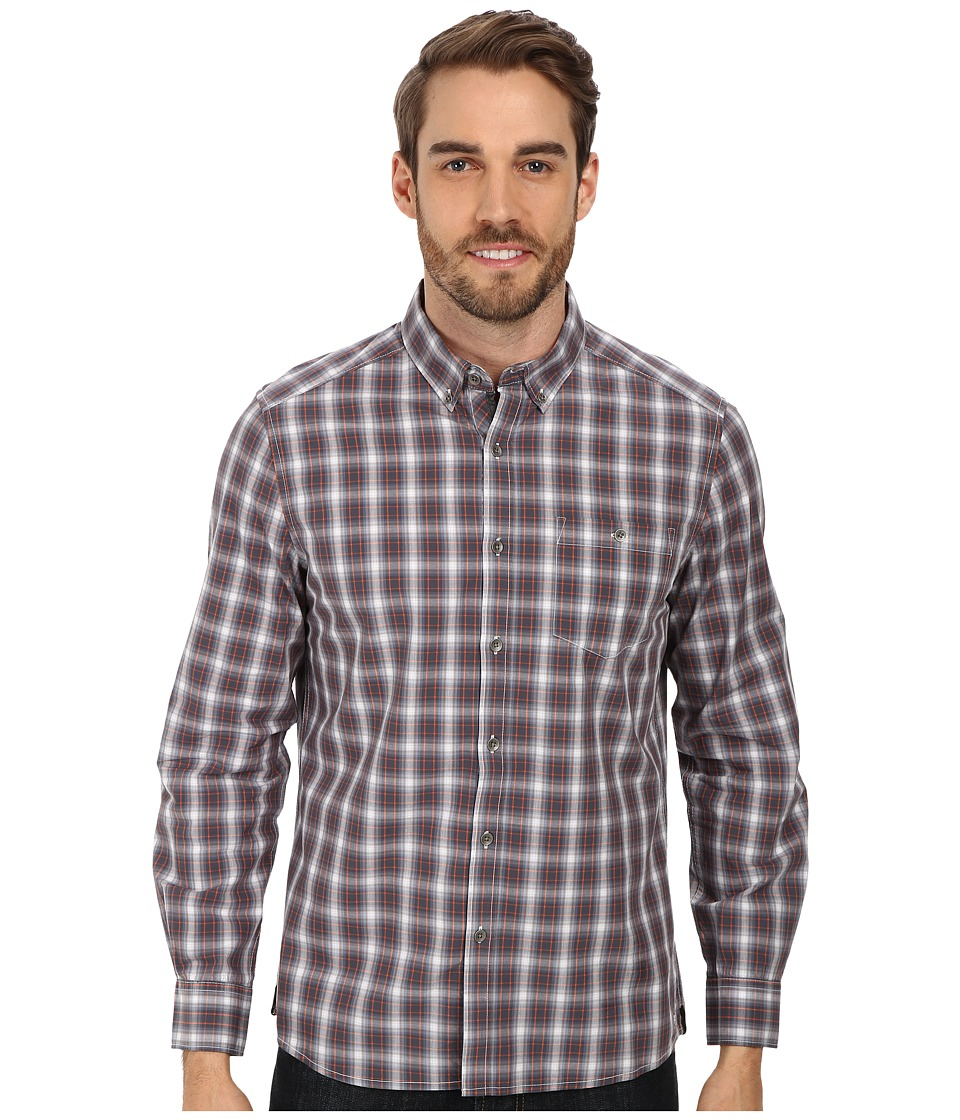 Kenneth Cole Sportswear - L/S Button-Down Collar One-Pocket Shirt (Warm Grey Combo) Men