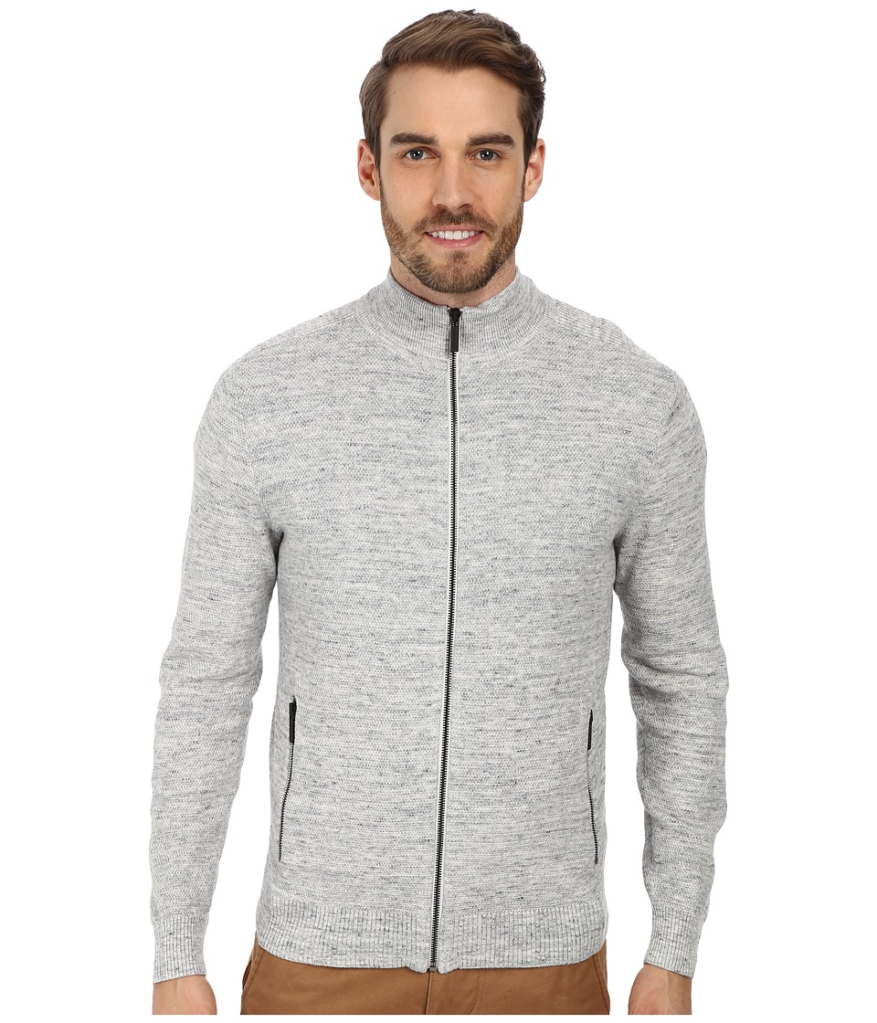 Kenneth Cole Sportswear - L/S Full Zip Mock Neck Shirt (Cloud) Men
