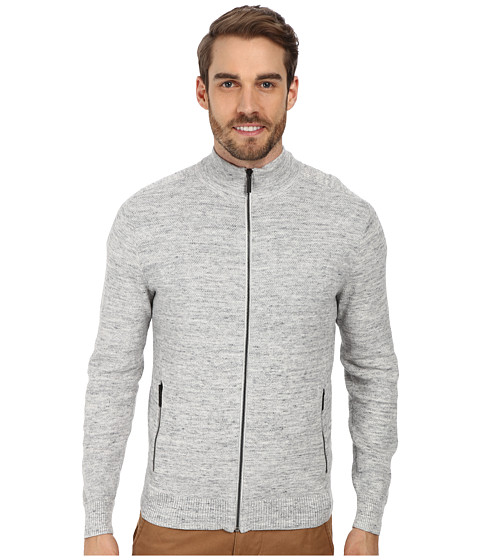 Kenneth Cole Sportswear - L/S Full Zip Mock Neck Shirt (Cloud) Men's Sweater