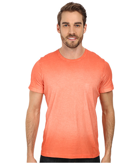 Kenneth Cole Sportswear - S/S Marble Wash Crew Shirt (Peach) Men