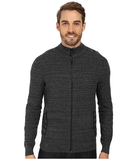 Kenneth Cole Sportswear - Pique Full Zip Jacket (Charcoal Heather) Men's Sweater