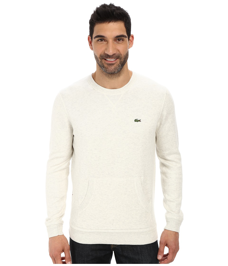 Lacoste - L!Ve Cotton Crew Neck Sweater w/ Kangaroo Pockets (Moon Grey) Men's Sweater