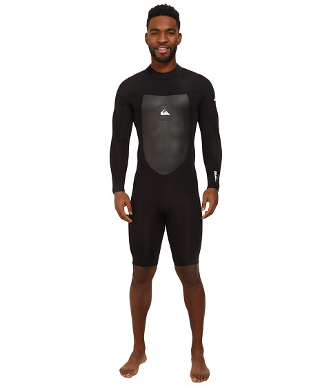 Quiksilver - Syncro 2mm Backzip Flatlock Long Sleeve Springsuit (Black) Men's Wetsuits One Piece