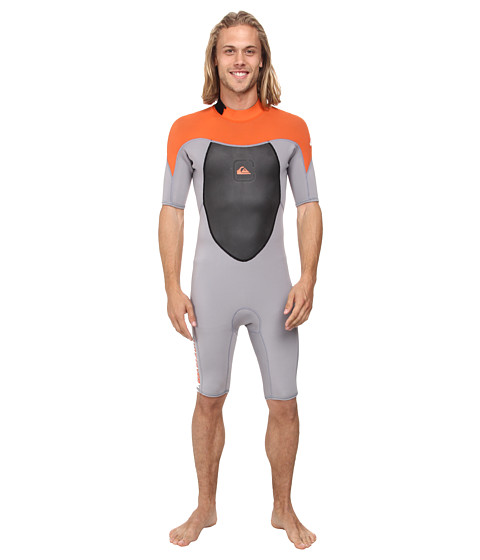 Quiksilver - Syncro 2mm Backzip Flatlock Short Sleeve Springsuit (Gray/Orange) Men's Wetsuits One Piece