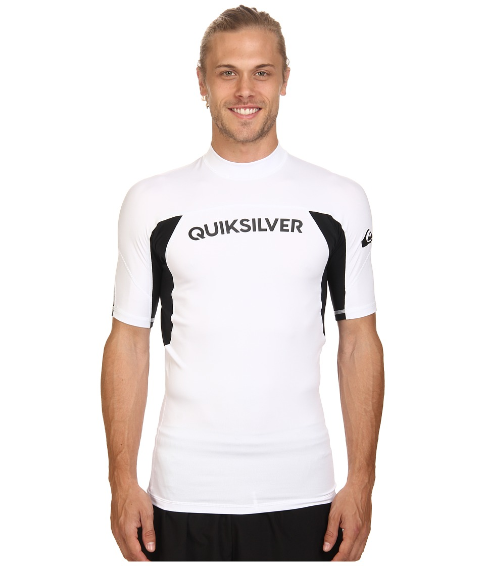 Quiksilver - Performer Short Sleeve Rashguard Surf Tee (White/Black) Men's Swimwear