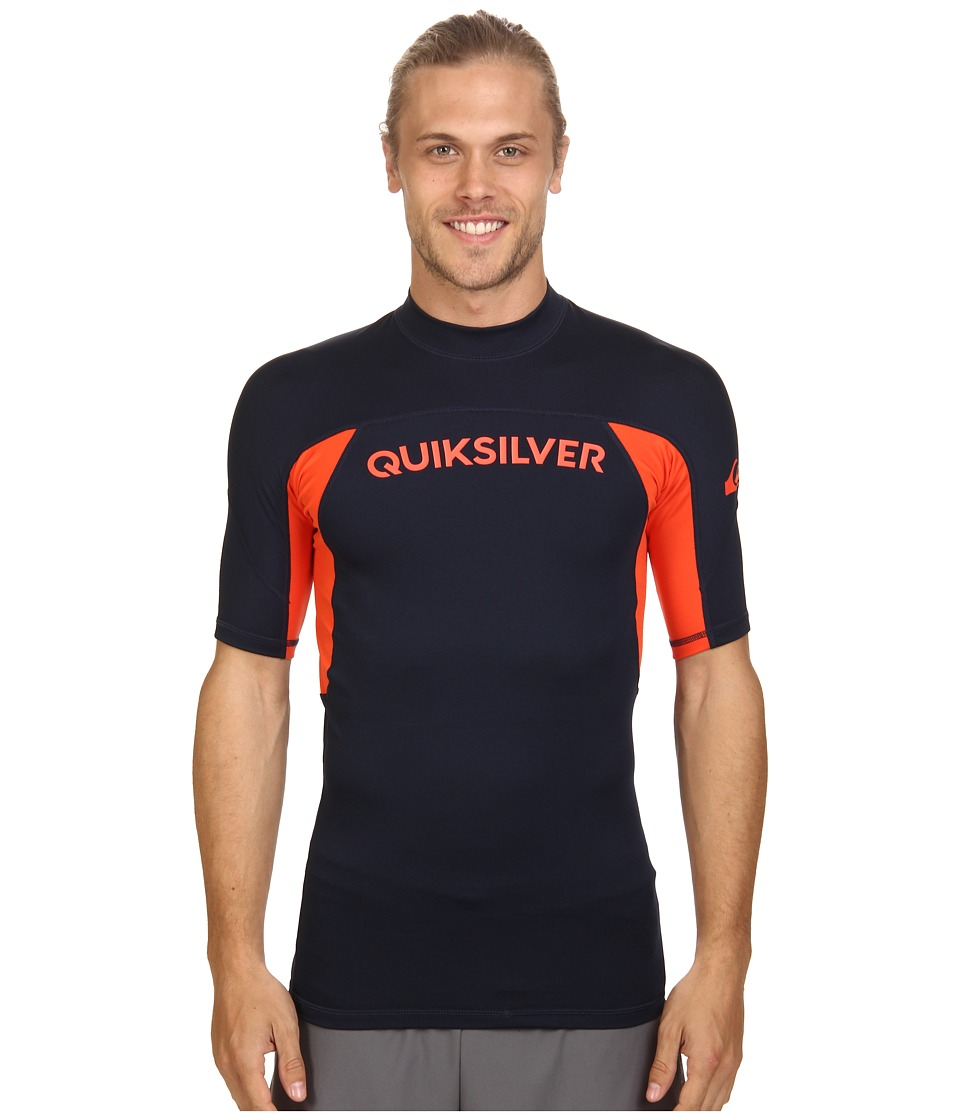 Quiksilver - Performer Short Sleeve Rashguard Surf Tee (Navy Blazer/Mandarin Red) Men