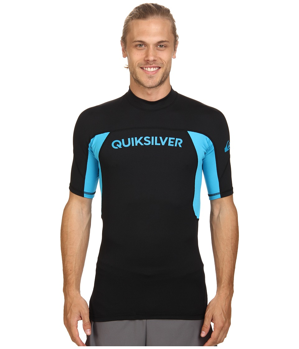 Quiksilver - Performer Short Sleeve Rashguard Surf Tee (Black/Hawaiian Ocean) Men's Swimwear