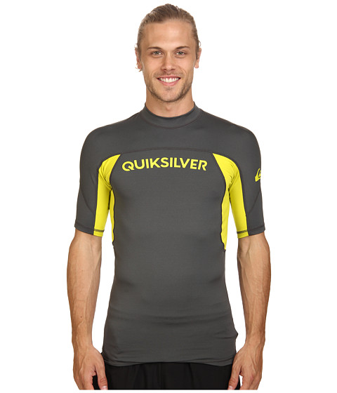Quiksilver - Performer Short Sleeve Rashguard Surf Tee (Dark Shadow/Sulphur Springs) Men's Swimwear