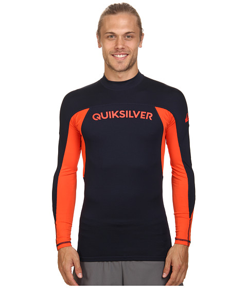 Quiksilver - Performer Long Sleeve Rashguard Surf Tee (Navy Blazer/Mandarin Red) Men