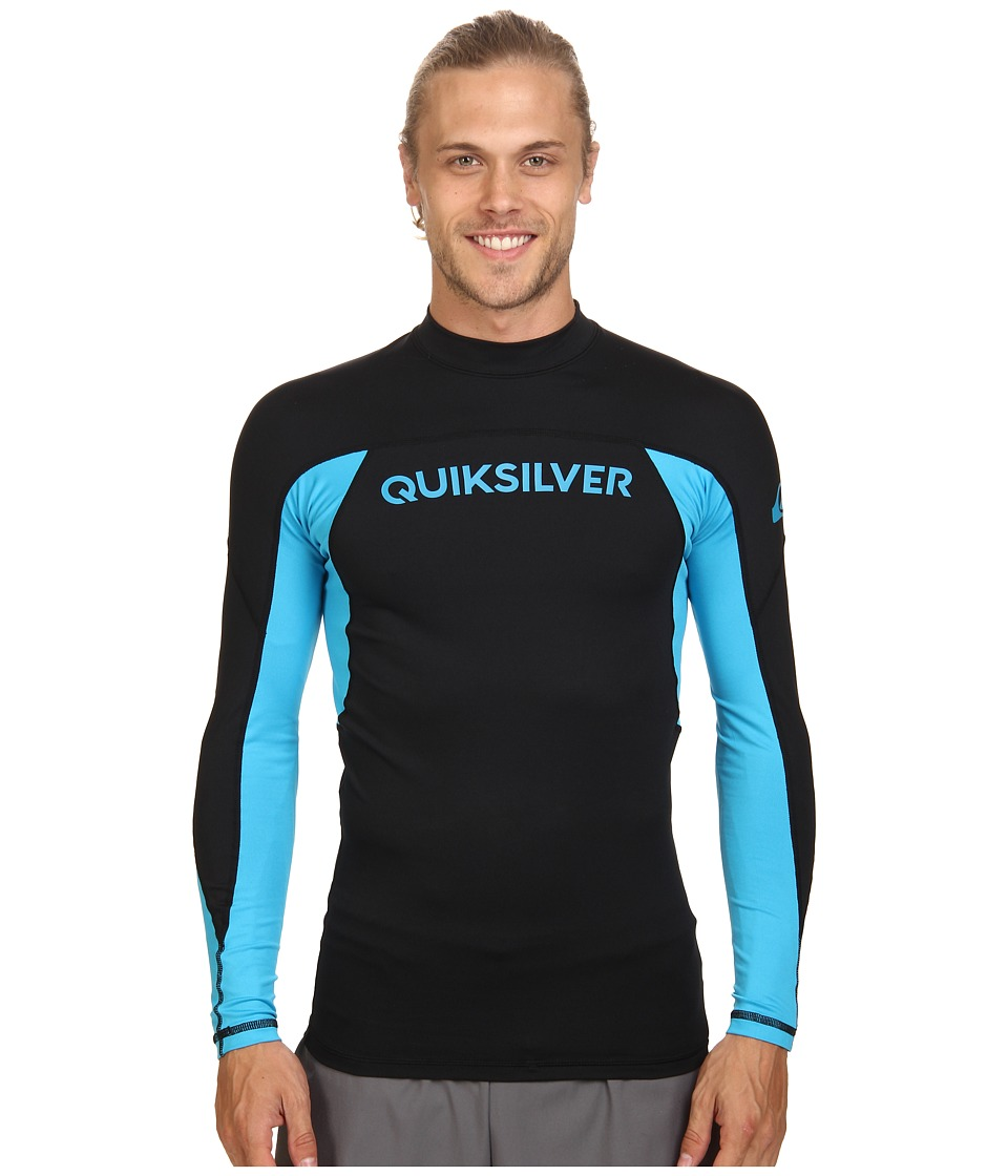 Quiksilver - Performer Long Sleeve Rashguard Surf Tee (Black/Hawaiian Ocean) Men's Swimwear