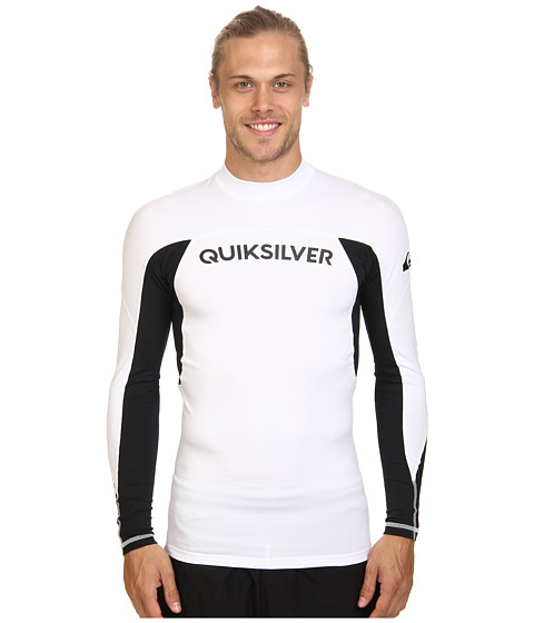 Quiksilver - Performer Long Sleeve Rashguard Surf Tee (White/Black) Men's Swimwear