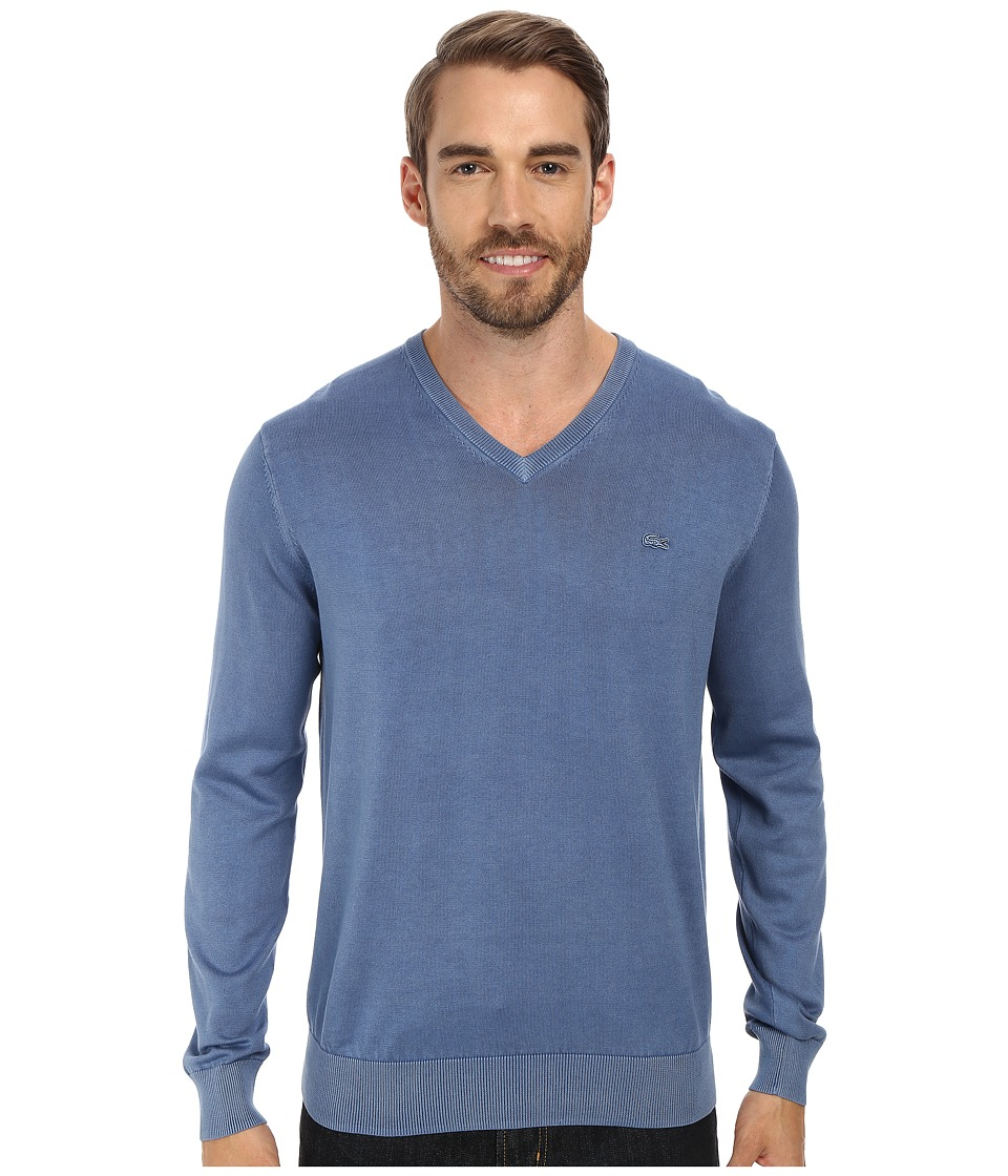Lacoste - Jersey V-Neck Vintage Wash Sweater (Amiral Used) Men's Sweater