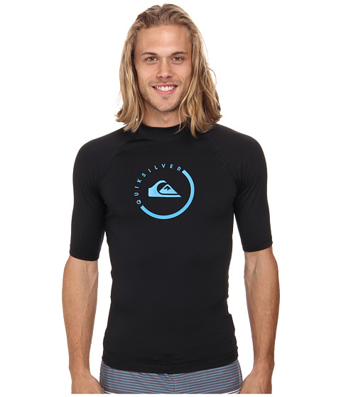 Quiksilver - Lock Up Short Sleeve Rashguard Surf Tee (Black) Men's Swimwear