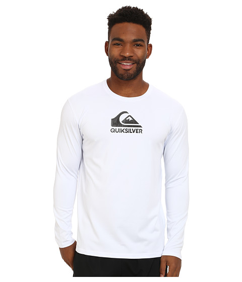 Quiksilver - Solid Streak Long Sleeve Rashguard Surf Tee (White) Men's Swimwear