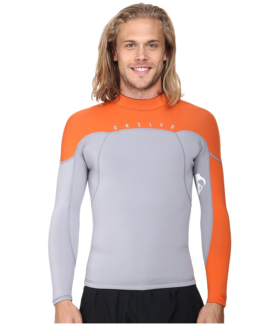 Quiksilver - Syncro 1.5mm Long Sleeve Jacket (Gray/Orange) Men's Swimwear