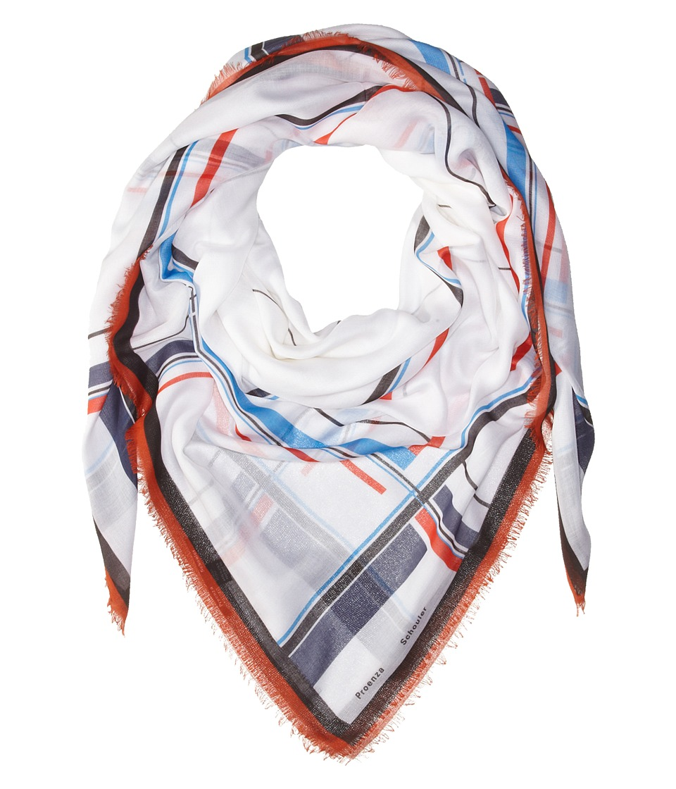 Proenza Schouler - F00140 BSP102 - Grid Print (White/Red/Blue) Scarves