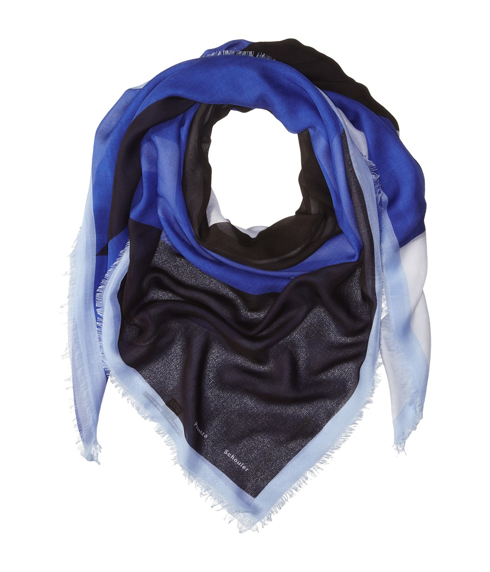 Proenza Schouler - F00140 BSP102 - Houndstooth Print (Cobalt/Black) Scarves