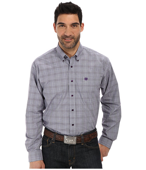 Cinch - Long Sleeve Plain Weave Plaid (Purple) Men