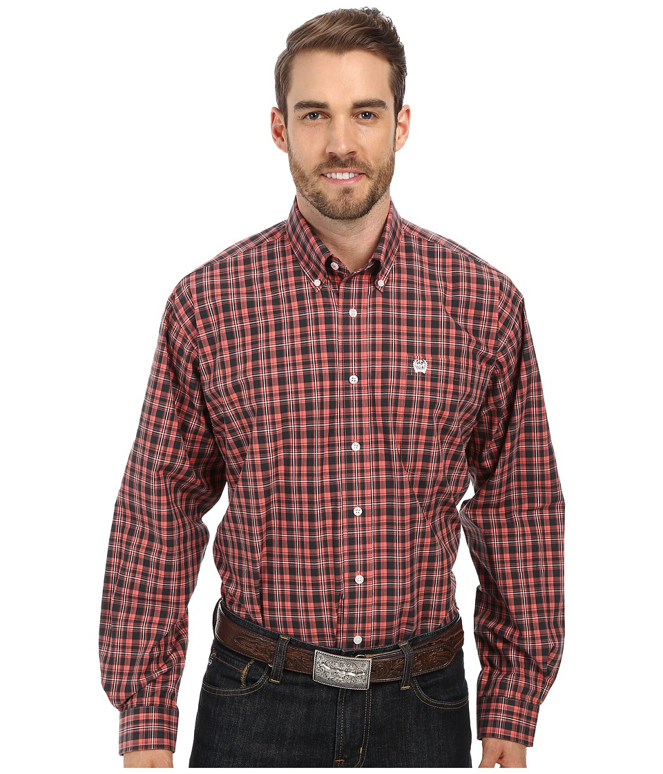 Cinch - Long Sleeve Plain Weave Plaid (Pink) Men's Clothing