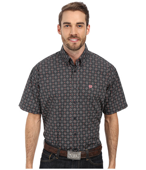 Cinch - Short Sleeve Print (Grey) Men's Short Sleeve Button Up