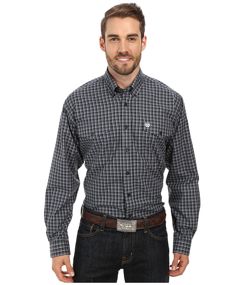Cinch - Long Sleeve Plain Weave Plaid Double Pocket (Grey) Men