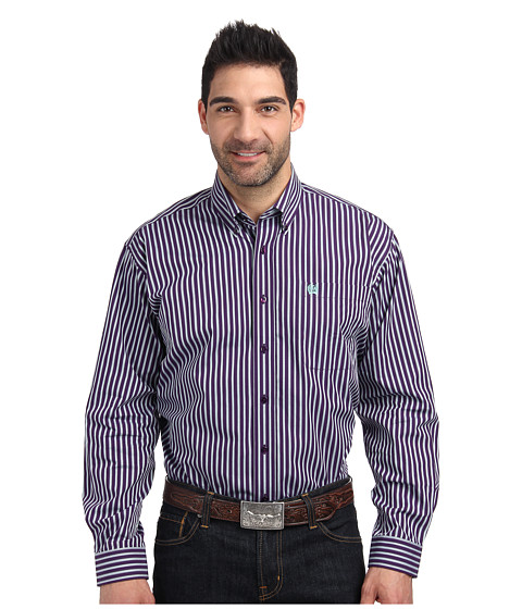 Cinch - Long Sleeve Plain Weave with Dobby (Purple) Men's Clothing