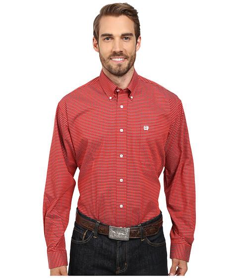 Cinch - Long Sleeve Plain Weave Plaid (Red) Men